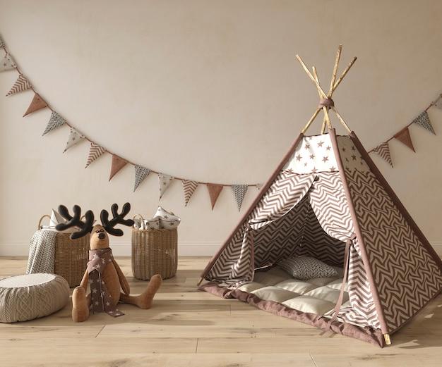 Quarto infantil em estilo escandinavo com móveis de madeira natural ilustração renderização em 3d
