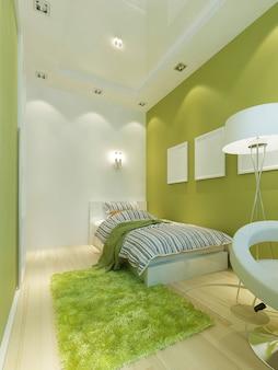 Quarto infantil estilo contemporâneo em verde claro com móveis brancos. 3d render.
