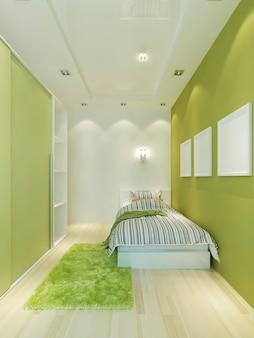 Quarto infantil estreito em estilo moderno com cama e guarda-roupa em tons verdes claros. 3d render.