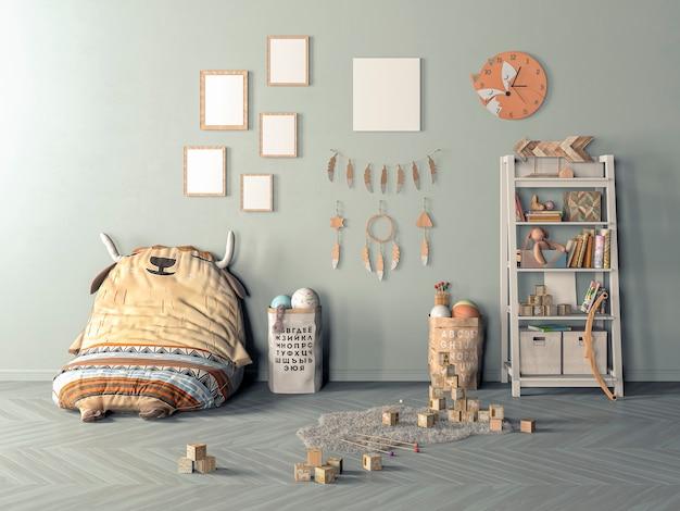 Quarto infantil moderno com conjunto de cadeira e mesa, escada encostada na parede, maquete de pôster, renderização em 3d