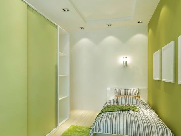 Quarto infantil moderno com tecto falso e luzes embutidas. crianças com cama confortável e guarda-roupa em tons verdes claros. 3d render.