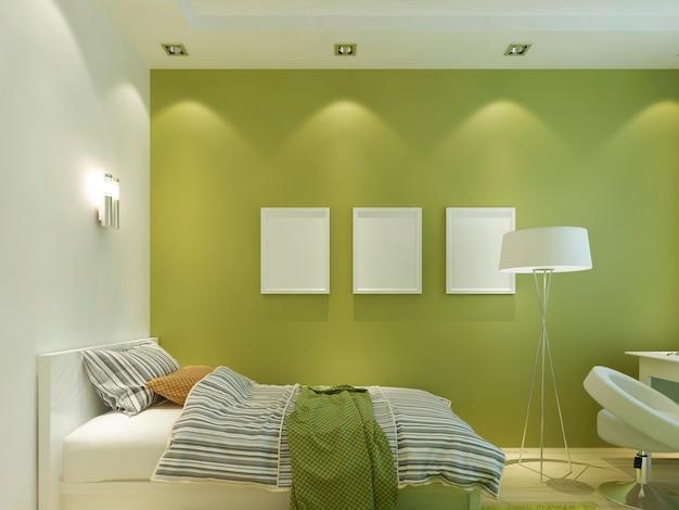 Quarto infantil moderno cor verde com pôsteres de maquete na parede e na cama. 3d render.