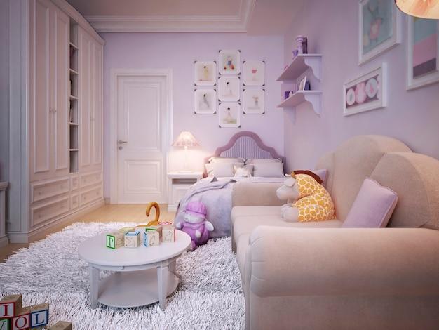 Quarto infantil para menina em estilo clássico rosa