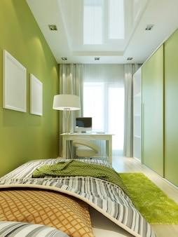 Quarto infantil para o menino nas cores verdes e brancas claras, com pôster de maquete na parede. 3d render.