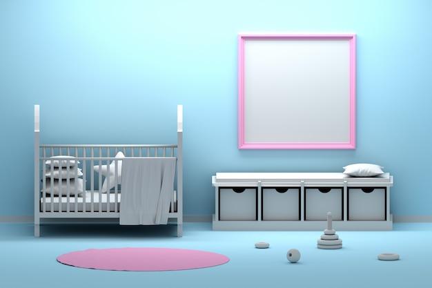 Quarto interior bebê sagacidade quadro hmockup