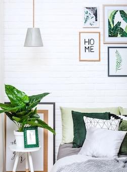 Quarto interior casa cama estilo flor padrão