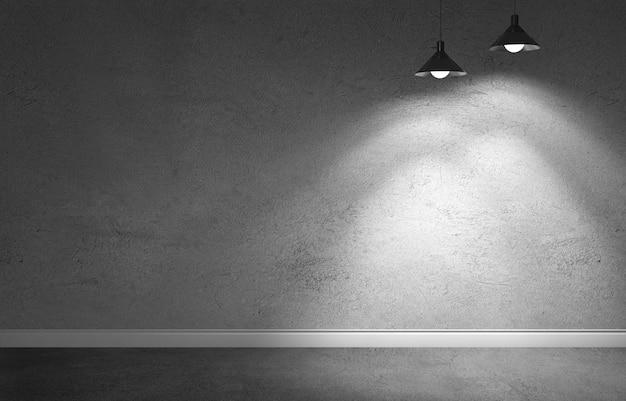 Quarto interior com parede de cimento concreto sujo, piso e rodapé branco. showroom subterrâneo com duas lâmpadas de metal penduradas. ilustração de renderização 3d
