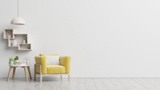 Quarto interior com poltrona amarela e parede branca vazia