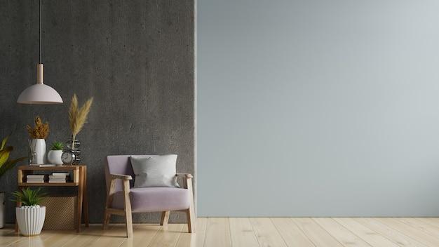 Quarto interior com uma poltrona na parede preta vazia, renderização em 3d