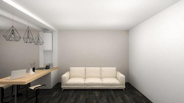 Quarto interior de estilo moderno com zona de despensa e chão em madeira preta. renderização 3d