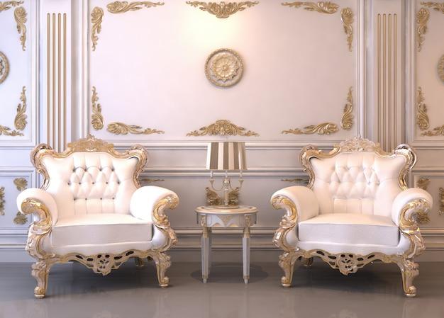 Quarto interior luxuoso 3d
