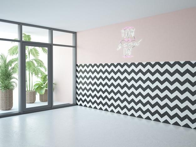 Quarto interior moderno com grandes janelas panorâmicas, parede rosa e papel de parede em zigue-zague