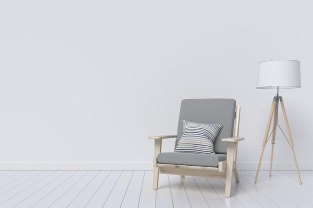 Quarto interior moderno com mobília e lâmpada agradáveis. ilustração 3d