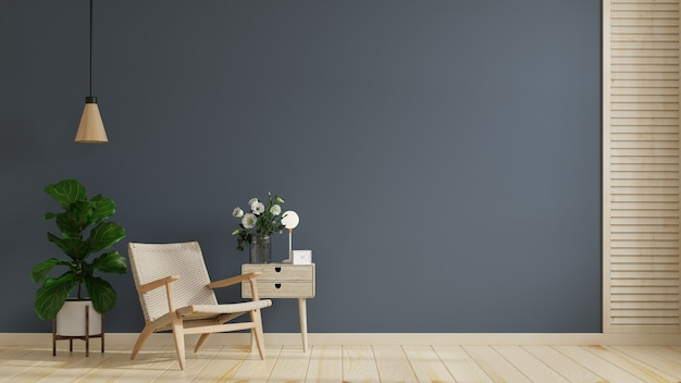 Quarto interior moderno com móveis bonitos e poltrona no fundo vazio da parede azul escura, renderização em 3d