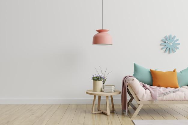 Quarto interior moderno com plantas e sofá na mesa de madeira.