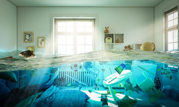 Quarto inundado cheio de brinquedos flutuando na água.