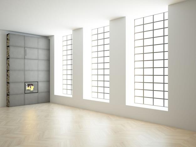 Quarto loft vazio com janelas grandes de teto alto e piso de madeira