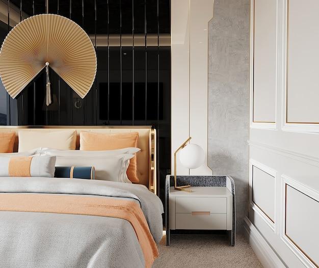 Quarto luxuoso com cama e design de parede