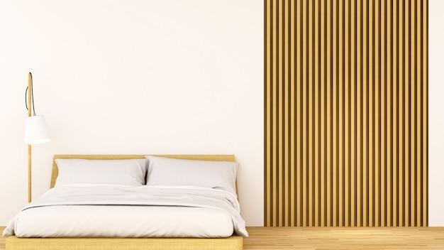 Quarto madeira decoração design limpo - renderização em 3d
