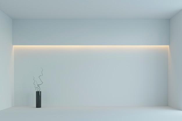 Quarto minimalista branco vazio com luz de fundo amarela. renderização em 3d