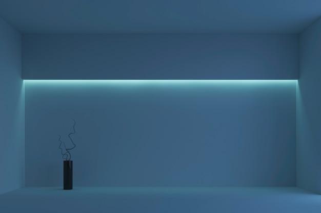 Quarto minimalista branco vazio com luz de fundo azul. renderização em 3d