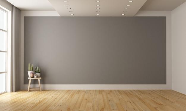 Quarto minimalista vazio com parede cinza em fundo