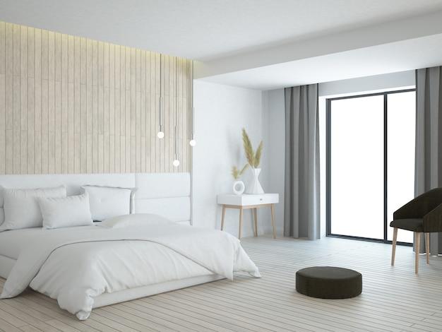 Quarto moderno com cama aconchegante com piso de madeira e painel de parede de madeira