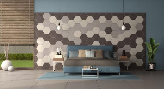Quarto moderno com cama de casal em frente a uma parede com azulejos hexagonais - renderização em 3d