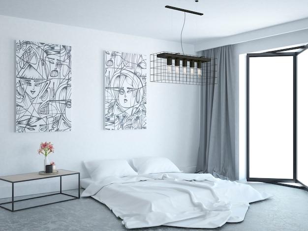 Quarto moderno com cama no chão de mármore