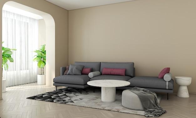 Quarto moderno com design de interiores e aconchegante sala de estar com parede amarela