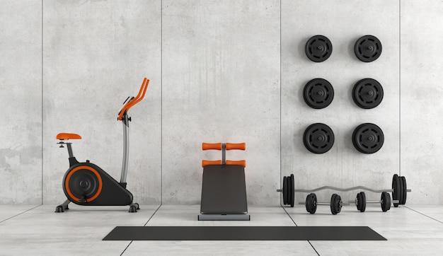 Quarto moderno com equipamentos de ginástica