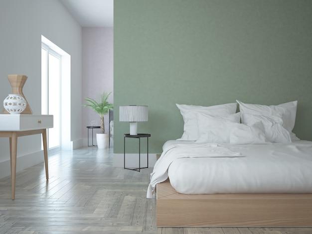 Quarto moderno com parede verde e rosa
