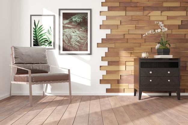 Quarto moderno com poltrona, armário, planta e livro de design de interiores.