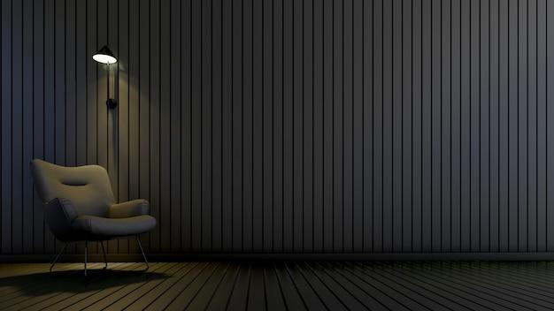 Quarto moderno com poltrona e lâmpada na sala vazia. projetos de fundo de interiores, renderização em 3d