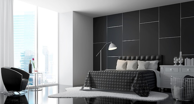 Quarto moderno com renderização 3d em preto e branco há grandes janelas com vista para a cidade