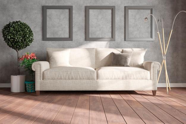 Quarto moderno com sofá, almofadas, abajur, molduras e plantas