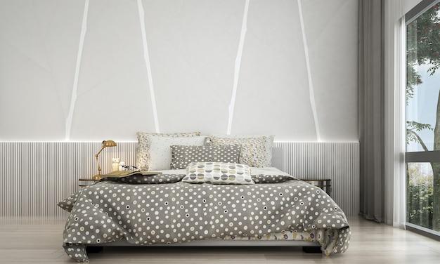 Quarto moderno, design de interiores de estilo e iluminação