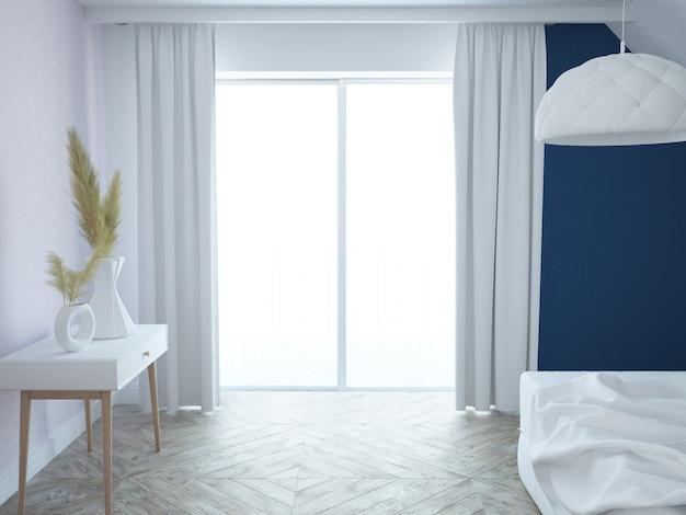 Quarto moderno e elegante luxuoso em branco, rosa e azul