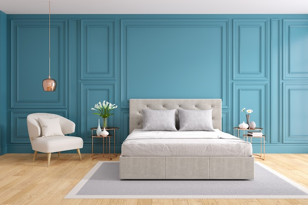 Quarto moderno e vintage, conceito de quarto cinza aconchegante, parede azul e piso de madeira