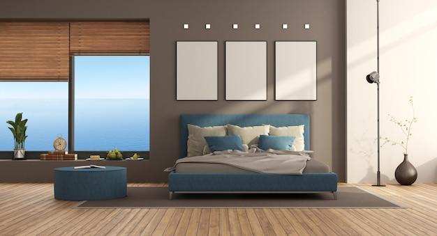 Quarto moderno em azul e marrom com cama de casal e janela grande - renderização em 3d