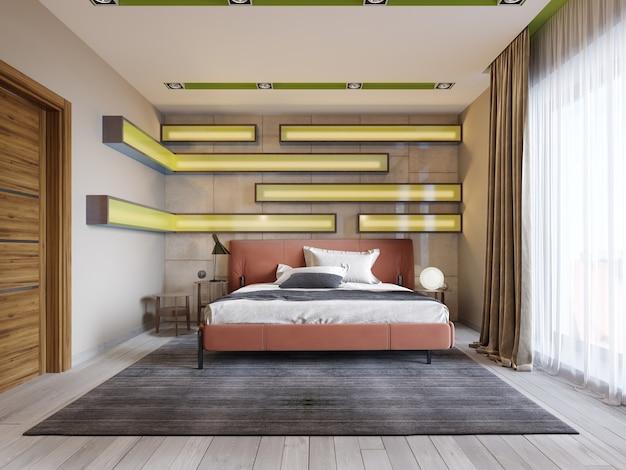 Quarto moderno multicolorido com prateleiras na parede com iluminação verde sob o vidro fosco, cama de couro em vermelho com mesinhas de cabeceira. renderização 3d