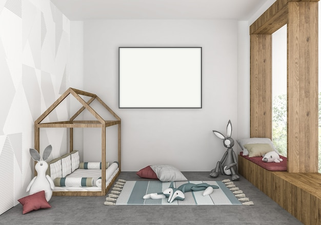 Quarto moderno para crianças com moldura vertical