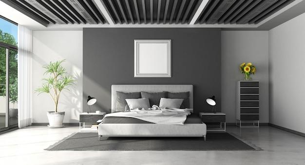 Quarto moderno preto e branco