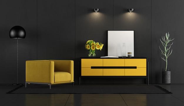 Quarto preto e amarelo com poltrona e aparador