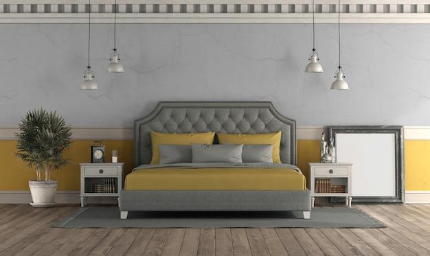 Quarto principal em estilo retro com parede velha e cama de casal clássica - renderização em 3d
