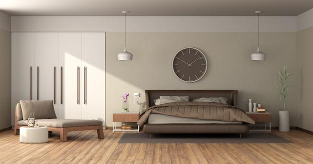 Quarto principal moderno com cama de casal de couro