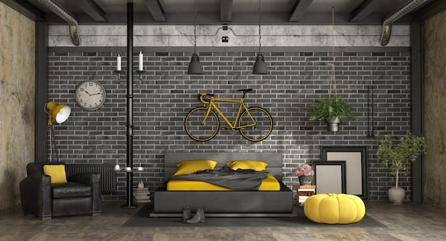 Quarto principal preto e amarelo em um loft