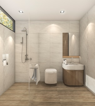 Quarto quente minimalista de renderização 3d com bom design