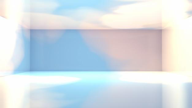 Quarto rendere 3d com parede celeste