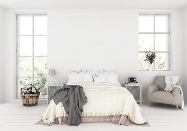 Quarto rústico com parede em branco, exibição de obras de arte